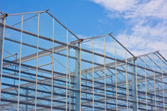 Steel construction. New residential construction home metal framing against a blue sky Stock Photo