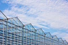 Steel construction. New residential construction home metal framing against a blue sky Royalty Free Stock Image