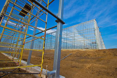 Steel construction. New residential construction home metal framing against a blue sky Stock Photos