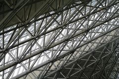 Steel construction 3. Steel construction in frankfurt Airport Terminal  2 roof Royalty Free Stock Photography
