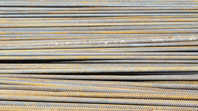 Steel construction bars on site. Steel construction deformed reinforcing bars on site for concrete works Stock Images