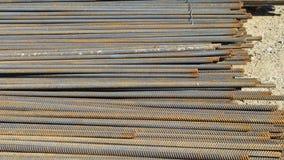 Steel construction bars on site Stock Photos