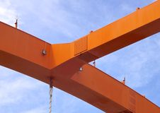 Steel construction of bridge Royalty Free Stock Image