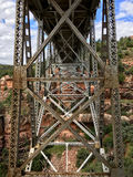 Steel construction of Midgely Bridge. Midgely Bridge in Wilson Canyon, Sedona, AZ Stock Photography