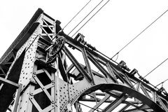 Steel construction of a railway bridge Royalty Free Stock Images