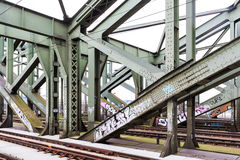 Steel construction of a railway bridge Stock Images