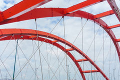 Steel construction of red bridge Stock Image