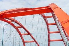 Steel construction of the red bridge Stock Image