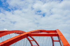 The steel construction of the red bridge Royalty Free Stock Images