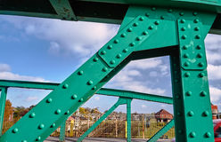 The steel construction of the road bridge Stock Images