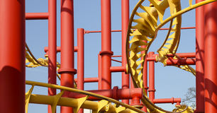 Steel construction of a roller coaster Stock Photography