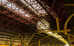 Steel construction of roof at train station photo taken in Jakarta Indonesia Stock Image
