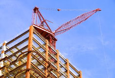 The steel of construction site and crane Royalty Free Stock Images