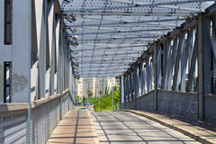 Steel construction from under the bridge Royalty Free Stock Image