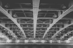 Steel construction from under the bridge Royalty Free Stock Photos