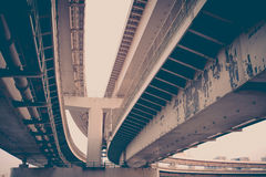 Steel construction from under the bridge Stock Image