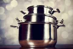 Steel cooking pots Stock Photos