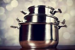 Steel cooking pots Stock Photos