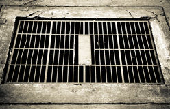 / Steel cover water drainage. black and white image Stock Photos
