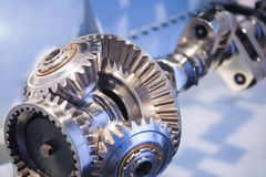Steel Crankshaft With Cogwheel Stock Photos
