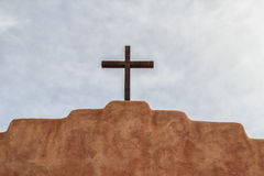 Steel cross on a church royalty free stock photos