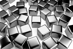Steel cube in the crowd of scattered cubes Stock Photo