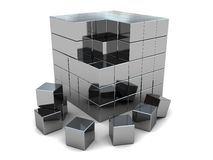 Steel cube puzzle Royalty Free Stock Images