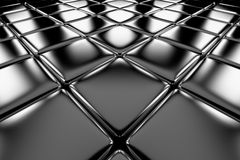 Steel cubes flooring diagonal perspective view Royalty Free Stock Image