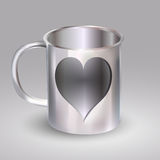 Steel cup with heart Stock Image