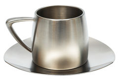 Steel cup with saucer Stock Photos
