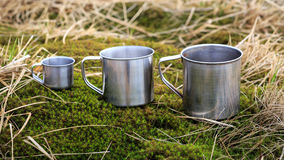 Steel cups on grass Royalty Free Stock Photography