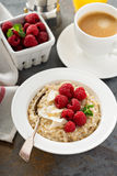 Steel cut oatmeal porridge with raspberry and coconut. Flakes for breakfast Royalty Free Stock Image