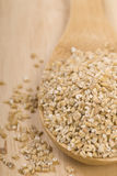 Steel cut oats on a wooden spoon Royalty Free Stock Images