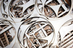 Steel Cutouts. Close-up of shapes cut out of stainless steel using a plasma cutter stock photography