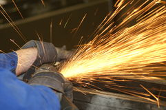 Steel cutter (1). A worker is cutting steel Royalty Free Stock Photography