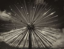 Steel Dandelion Abstract of Water Fountain in Mono stock images