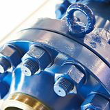 Steel detail with bolt and nut. Steel detail with bolts and nuts royalty free stock photography