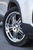 Steel disc wheels on car Royalty Free Stock Photo