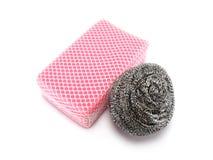 Steel dish washing sponge Stock Photos