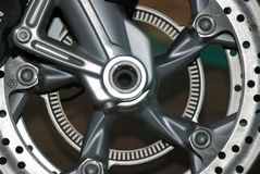 Steel disk of motorbike wheel Stock Photos