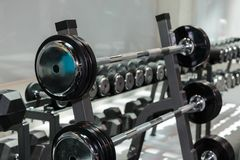Steel Disks and Barbells in Gym: Weight Fitness Equipment.  Royalty Free Stock Image