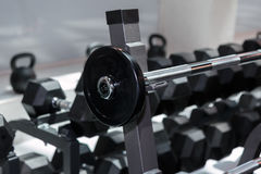 Steel Disks and Barbells in Gym: Weight Fitness Equipment.  Stock Photo