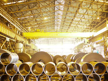 Steel distribution center with coils and tube Stock Photography