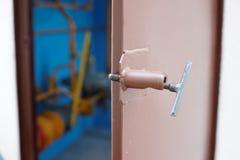 Steel door ajar technology room Stock Photos