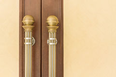 Steel Door handles. On Vintage Wood Door Royalty Free Stock Photos