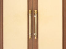 Steel Door handles. On Vintage Wood Door Royalty Free Stock Image