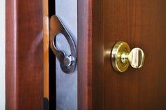 Steel door lock system Stock Photo