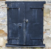 Steel Door on a Stone Building Stock Image