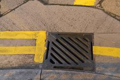 Steel drain hatch classic view and square royalty free stock photo