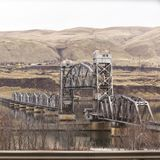 Draw Bridge on Columbia River. Steel draw bridge over the Columbia River in the Columbia River Gorge area of Oregon, USA royalty free stock images